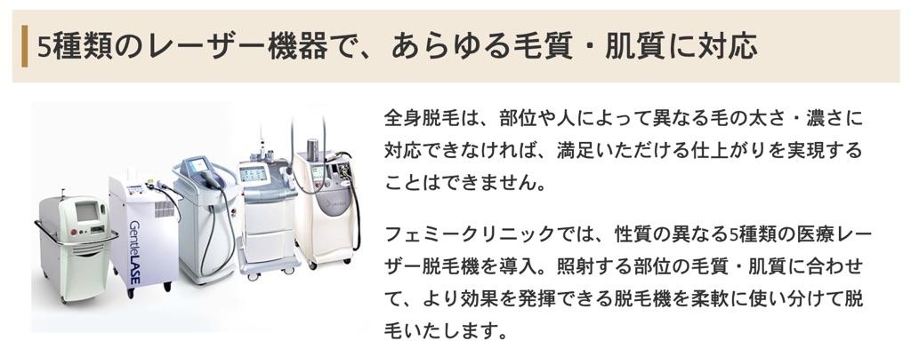 フェミークリニック機械の種類